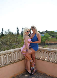 sex images Older blonds share girl on girl kiss, big tits , kissing
