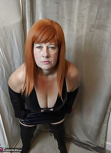 sex images Older redhead Mrs Leather smacks her, big tits , bbw