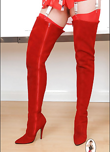 sex images Red suede thigh boots awesome milf, Lady Sonia , pornstars , big tits