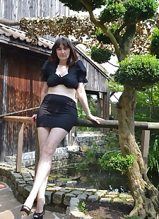 sex images Hot brunette mature in short black, brunette , outdoor